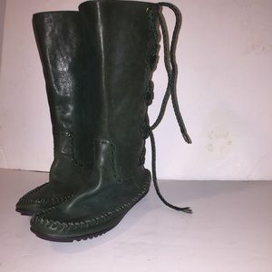Green Frye Moccasin Lace Boots Size 6 Forest Green